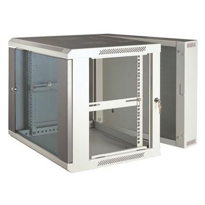 Шкаф телекоммуникационный настенный 3-х секционный 6U (600x550х368) дверь стекло
