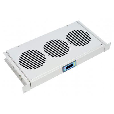 """Модуль вентиляторный 19"""" 1U, 3 вентилятора, регулируемая глубина 200-310 мм, с термодатчиком"""