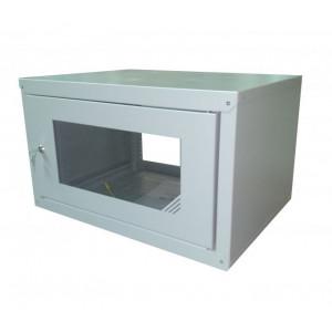 Шкаф телекоммуникационный настенный 6U (600x450х370) дверь стекло, цвет-серый, разборный
