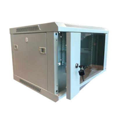 Шкаф телекоммуникационный настенный 6U (600x650х370) дверь стекло, цвет-серый