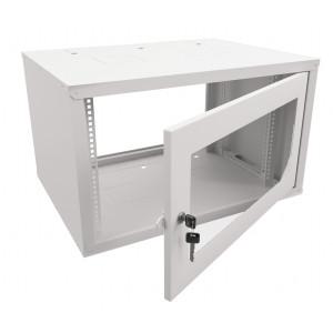 Шкаф телекоммуникационный настенный 9U (600x450х500) дверь стекло, цвет-серый, разборный