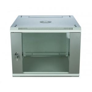 Шкаф телекоммуникационный настенный 9U (600x600х515) дверь стекло, цвет-серый