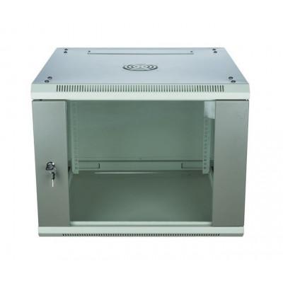 Шкаф телекоммуникационный настенный 12U (600x450х653) дверь стекло, цвет-серый