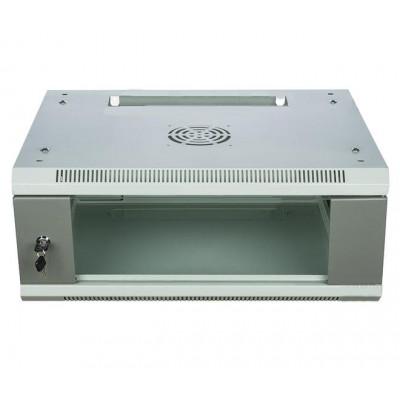 Шкаф телекоммуникационный настенный 4U (600x450х240) дверь стекло, цвет-серый