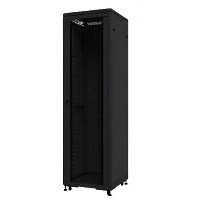 Шкаф телекоммуникационный напольный 42U (600х600х2055) дверь стекло, цвет-черный