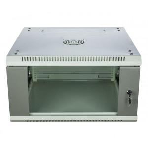 Шкаф телекоммуникационный настенный 6U (600x450х370) дверь стекло, цвет-серый