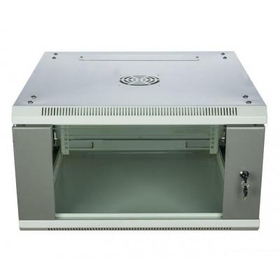 Шкаф телекоммуникационный настенный 6U (600x600х370) дверь стекло, цвет-серый