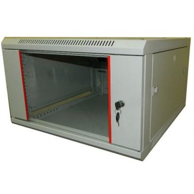 Шкаф телекоммуникационный настенный 9U (600x650х515) дверь стекло, цвет-серый