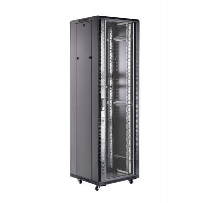 Шкаф телекоммуникационный напольный 47U (600х900х2277) дверь стекло, задняя-перфорир., цвет-черный