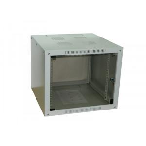 Шкаф телекоммуникационный настенный 6U (600x600х370) дверь стекло, цвет-серый, разборный