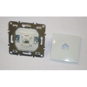 Телефонная розетка на 1 порт RJ11, скрытой установки, IP20, белая,  Technolink