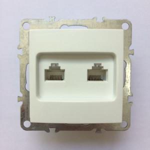 Компьютерная розетка на 2 порта RJ45 cat.5e, неэкран., скрытой установки, IP20, белая, Technolink