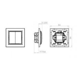 Выключатель двухклавишный, скрытой установки, 10А, IP20, белый, Technolink