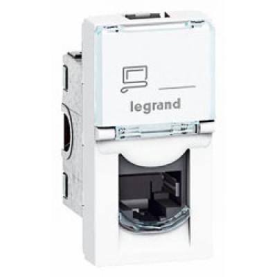 LEGRAND 076551 Модуль розетки компьютерной RJ-45, кат. 5e, UTP, 1М, белый, Mosaic