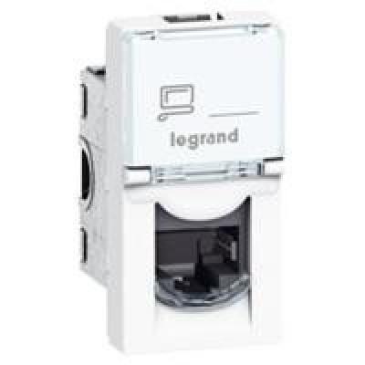 LEGRAND 076552 Модуль розетки компьютерной RJ-45, кат. 5e, FTP, 1М, белый, Mosaic
