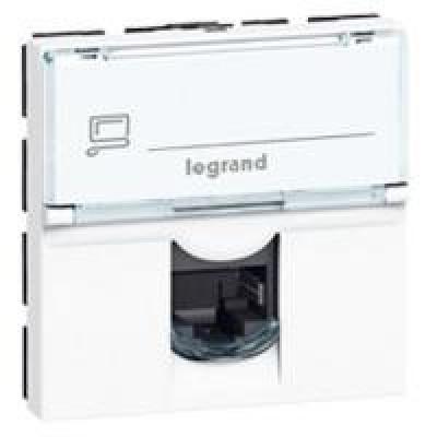 LEGRAND 076555 Модуль розетки компьютерной RJ-45, кат. 5e, FTP, 2М, белый, Mosaic