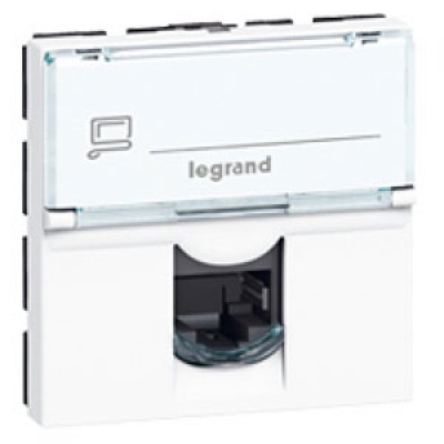 LEGRAND 076566 Модуль розетки компьютерной RJ-45, кат. 6, STP, 2М, белый, Mosaic