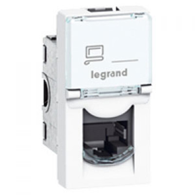 LEGRAND 076573 Модуль розетки компьютерной RJ-45, кат. 6A, 10GIGA, STP/FTP, 1М, белый, Mosaic