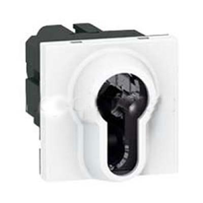 LEGRAND 077075 Выключатель кнопочный 3-х позиционный с ключом, 2М, евроцилиндр, Mosaic