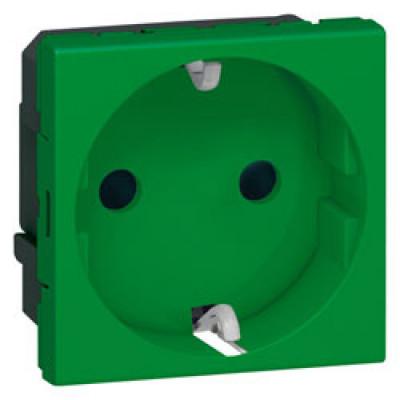 LEGRAND 077216 Модуль розетки 2К+3, [Schuko] с защитн шторками, зелен, Mosaic