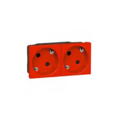 LEGRAND 077272 Модуль розетки 2х2К+3 под уголом 45°, красный, Mosaic