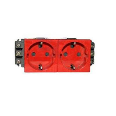 LEGRAND 077412 Модуль розетки 2х2К+3, 4М, [Schuko] безвинт зажимы, с мех.блок., красный, Mosaic