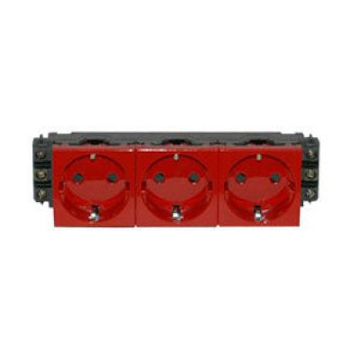 LEGRAND 077423 Модуль розетки 3х2К+З, 6М, [Schuko] проходной (в короб), с мех.блок., красный, Mosaic