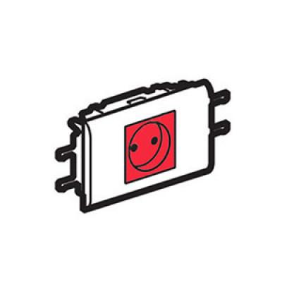 LEGRAND 077451 Модуль розетки 2К+З, [Schuko] с суппортом и лиц панелью, проход, с мех.блок., Mosaic