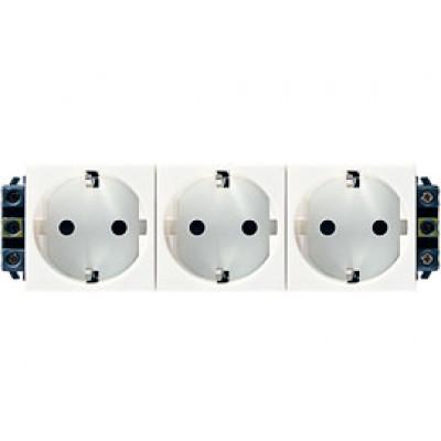 LEGRAND 077603 Модуль розетки 3х2К+3, 6М, [Schuko] проходной (в короб), с защитными шторками, Mosaic