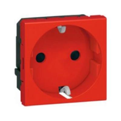 LEGRAND 077611 Модуль розетки 2К+3, 2М, [Schuko] проходной (в короб), красный, Mosaic