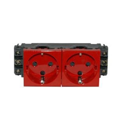 LEGRAND 077622 Модуль розетки 2х2К+3, 4М, [Schuko] проходной (в короб), с мех.блок., красный, Mosaic