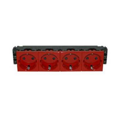 LEGRAND 077624 Модуль розетки 4х2К+3, 8М, [Schuko] проходной (в короб), с мех.блок., красный, Mosaic