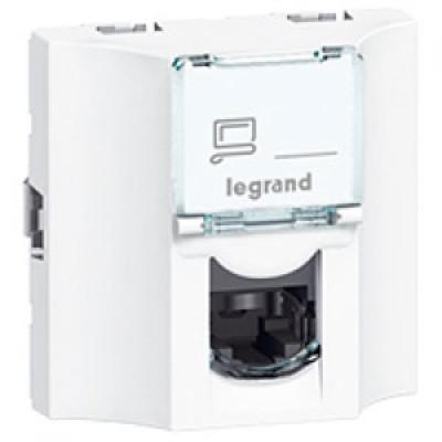 LEGRAND 078622 Модуль розетки компьютерной проходной RJ-45, кат. 6, UTP, 2М, белый, Mosaic