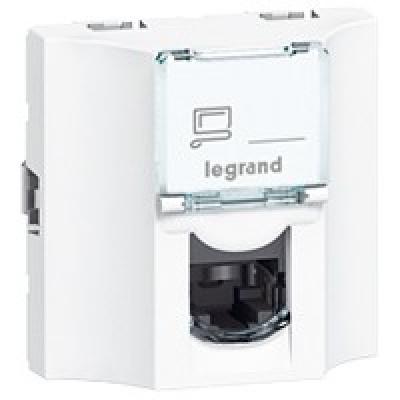 LEGRAND 078623 Модуль розетки компьютерной проходной RJ-45, кат. 6, FTP, 2М, белый, Mosaic