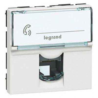 LEGRAND 078731 Модуль розетки RJ11, 4 контакта, 2М, белый, Mosaic