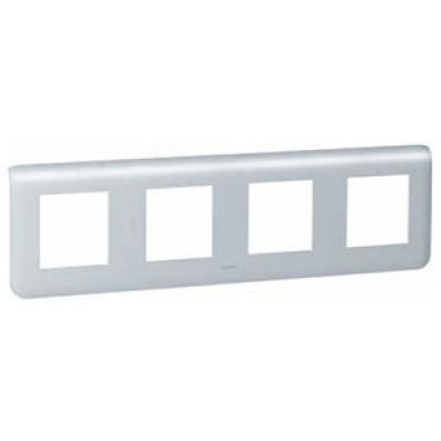 LEGRAND 079014 Декоративная рамка M45, 4М, горизонтальная установка, алюминиевая, Mosaic