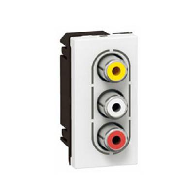 LEGRAND 079254 Модуль розетки аудио стерео видео 3 RCA, алюминий, Mosaic