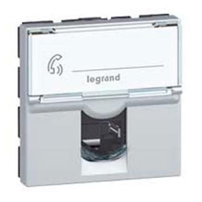 LEGRAND 079465 Модуль розетки компьютерной RJ-45, кат. 6, FTP, 2М, алюминиевая, Mosaic