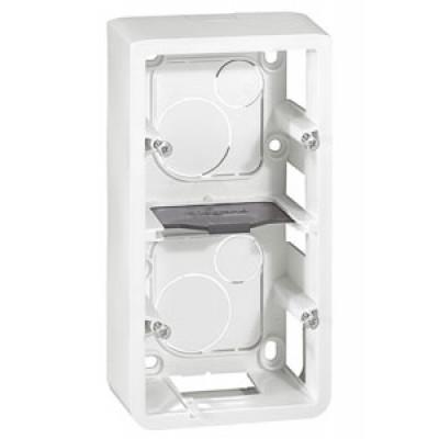 LEGRAND 080282 Коробка для накладного монтажа, вертикальная, 2Х2М, глубина 40 мм, белая, Mosaic