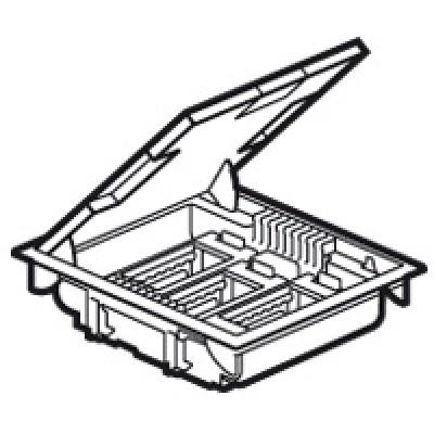 LEGRAND 089606 Напольная коробка на 12 модулей с крышкой под ковровое, паркетное покрытие, серая