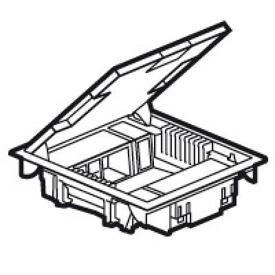 LEGRAND 089620 Напольная коробка на 10 модулей с крышкой из стали с антикороз.покр.(с рег.глуб 65мм)