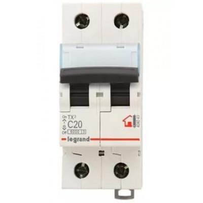 LEGRAND 404043 (604821) Автоматический выключатель, серия TX3, С20A, 2-полюсный