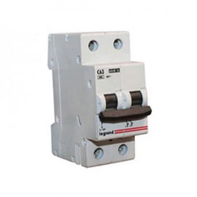 LEGRAND 407283 Автоматический выключатель, серия DX3-E, С63A, 6kA, 2-полюсный