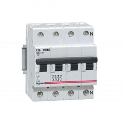 LEGRAND 407305 Автоматический выключатель, серия DX3-E, С16A, 6kA, 4-полюсный