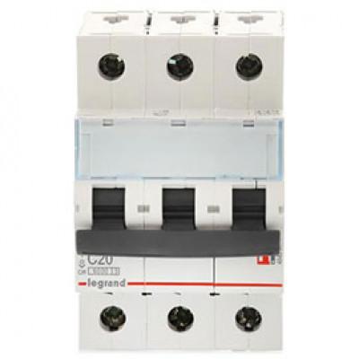 LEGRAND 409255 Автоматический выключатель, серия DX3, С20A, 25кА, 3-полюсный