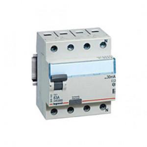 LEGRAND 411704 Дифференциальный выключатель, серия DX3, 63A, 30mA, 4-полюсный, тип АС