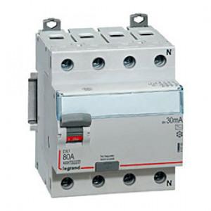 LEGRAND 411705 Дифференциальный выключатель, серия DX3, 80A, 30mA, 4-полюсный, тип АС