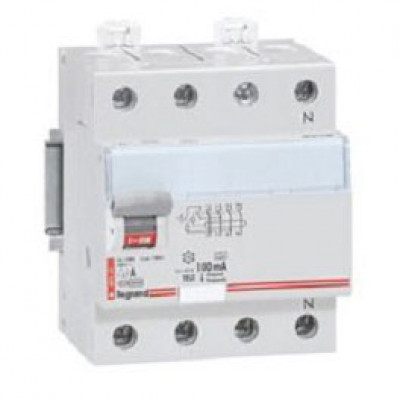 LEGRAND 411713 Дифференциальный выключатель, серия DX3, 40A, 100mA, 4-полюсный, тип АС