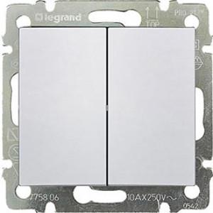 LEGRAND 770098 Переключатель на 2 направления, 2-клавишный, 10АХ, 250В, IP44, белый, Valena