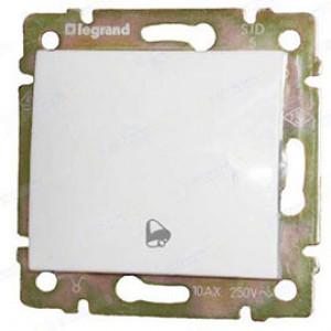LEGRAND 770099 Выключатель 1-клав, без фиксации, с символом звонка, 10А, 250В, IP44, белый, Valena